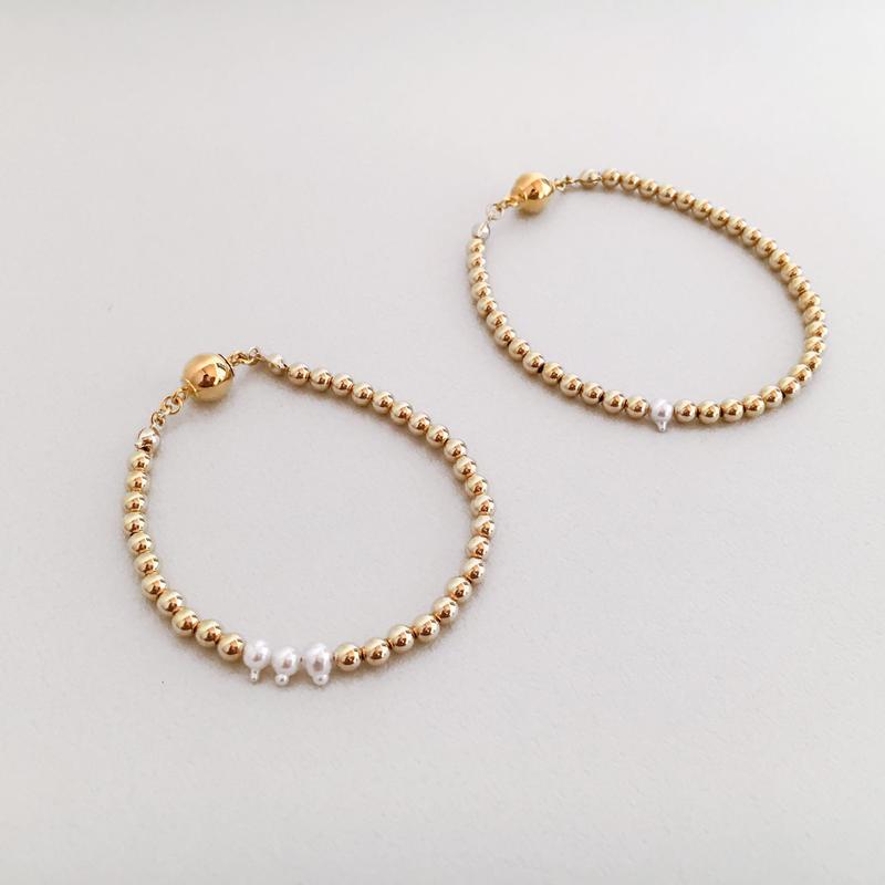 HORN AKOYA PEARL AND METAL BEADS 【bracelet】