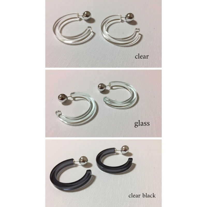 pi-35 acrylic hoop pierce -clear,glass,clear black
