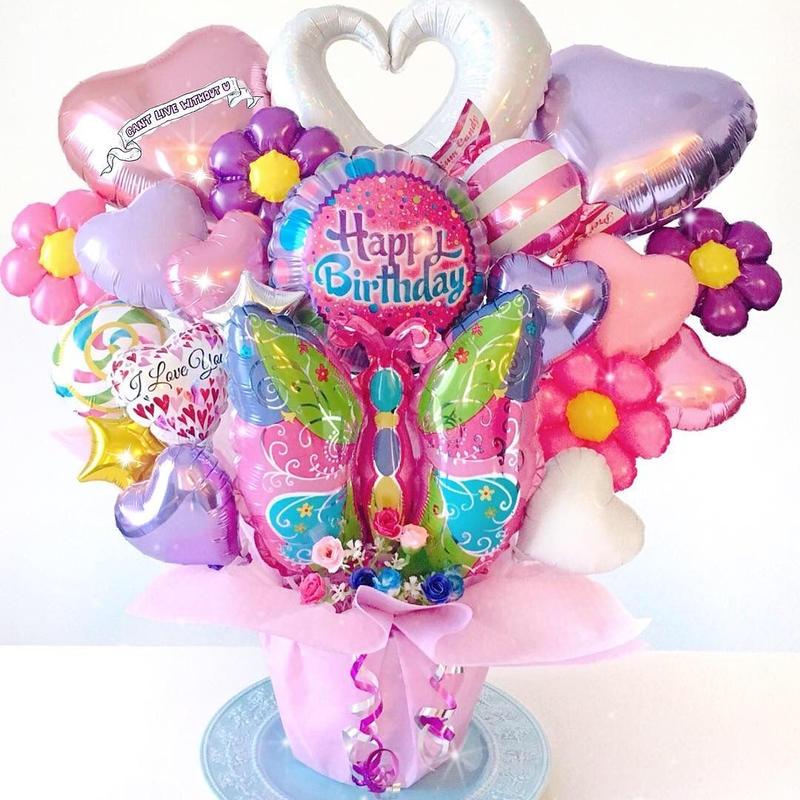 特大サイズ★お誕生日♥ピンクパープルアレンジ♪送料無料