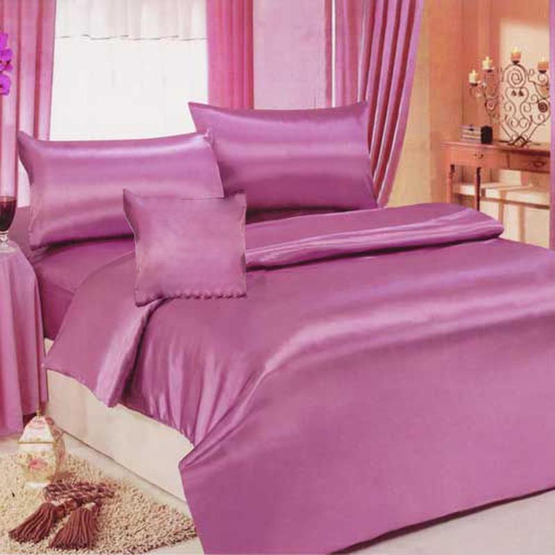 シルクタッチのシングル用光沢サテン布団,敷,枕カバー3点セット11赤紫