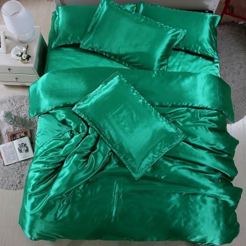 新シルクタッチのW用高級光沢サテン布団,敷,枕カバー4点セット117