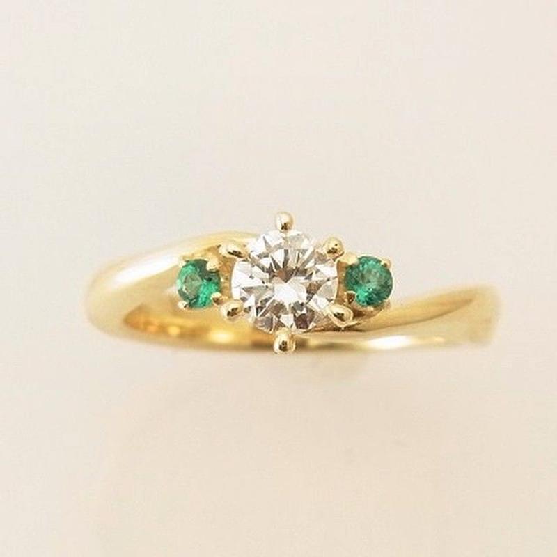 k18yg ダイヤモンド エメラルド リング