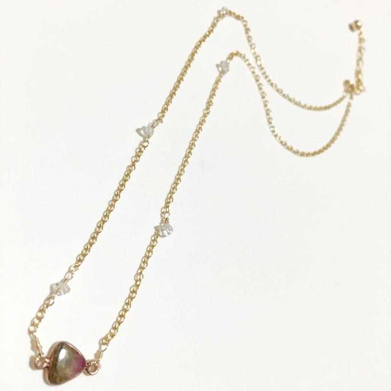 ウォーターメロントルマリン×ハーキマーダイヤモンド の14kgf ネックレス (アジャスター付き)