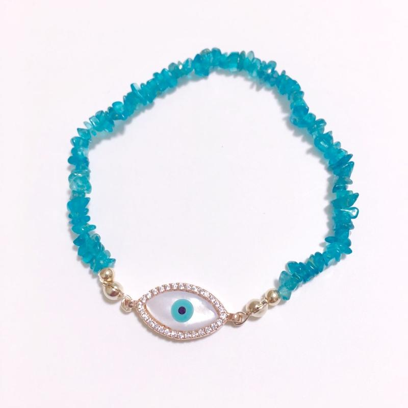 マザーオブパールブルーeye × 美しいネオンブルー アパタイト 華奢ブレスレット