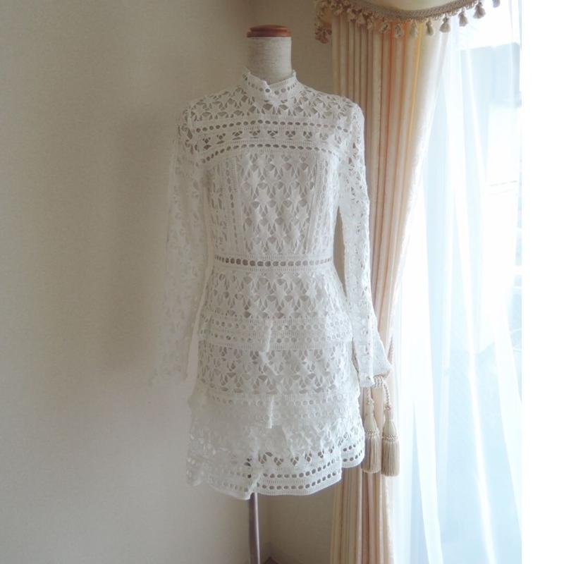 white star frill dress