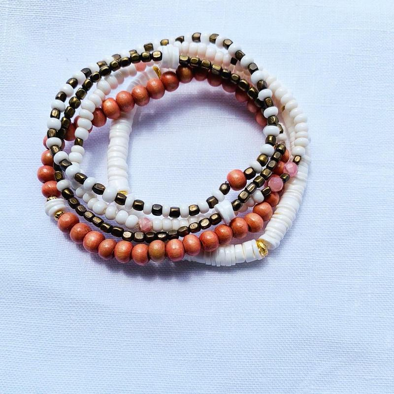 Pink × White  5 bracelet set