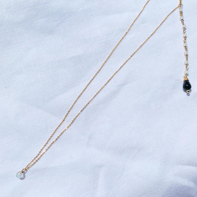 Moonstone × Spinel back chein  necklace
