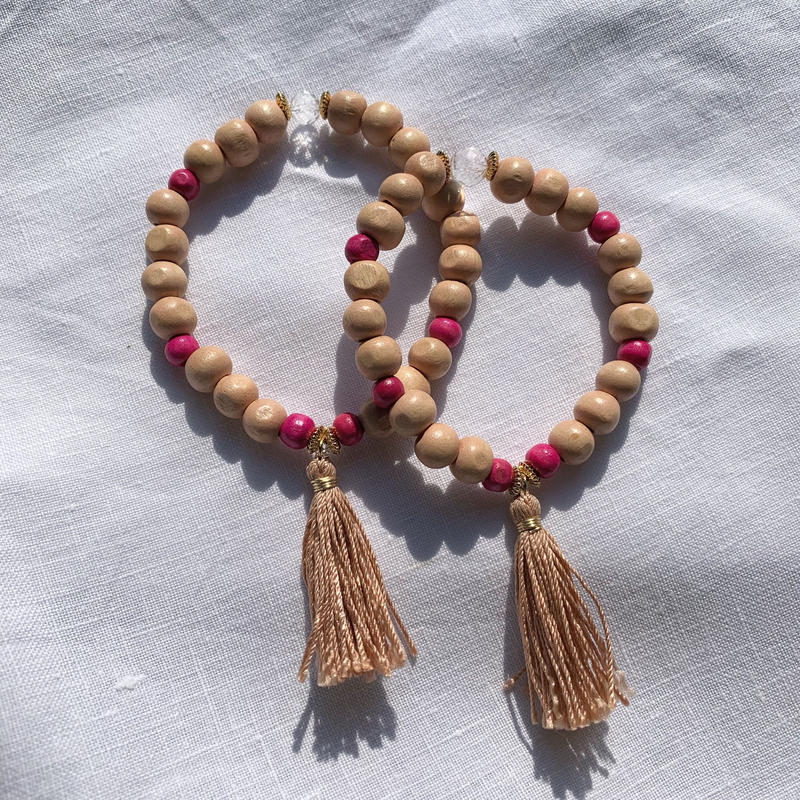 【for Mum and Girl】Beige × Pink  woodbeads  bracelet