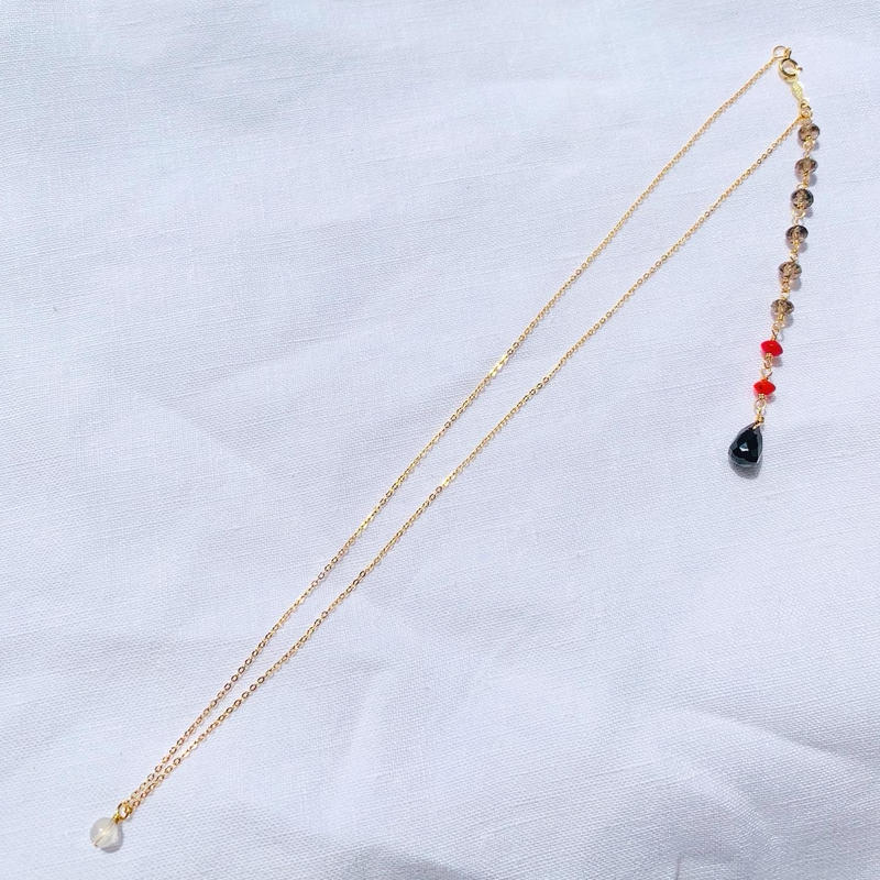 Red Coral × Onyx back chein  necklace