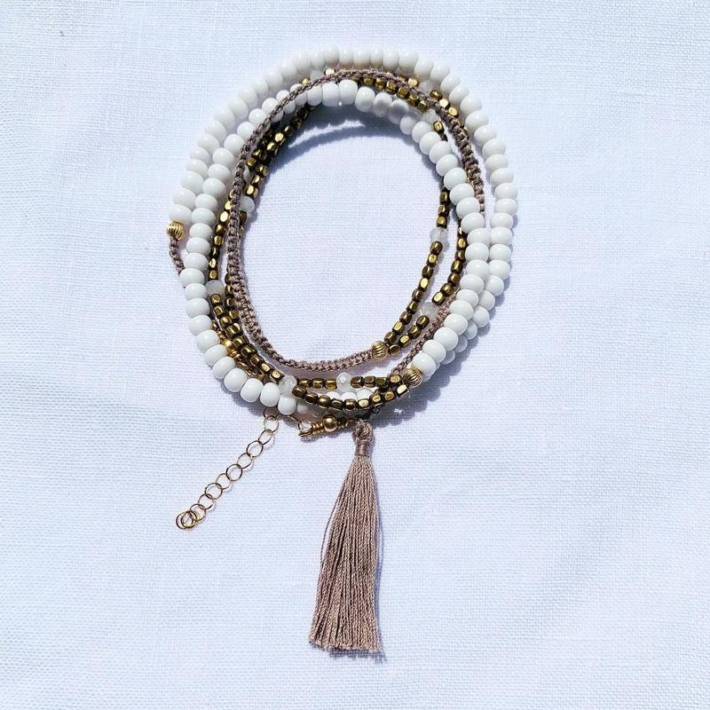 Antique white beads   fringe bracelet