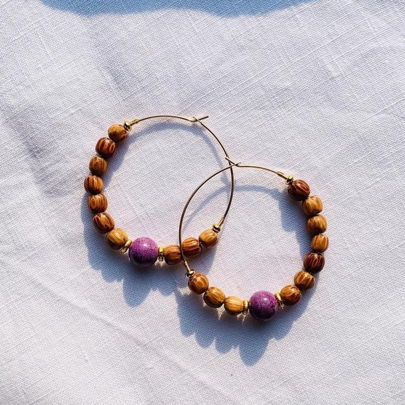 purpurite × coconut beads pierce