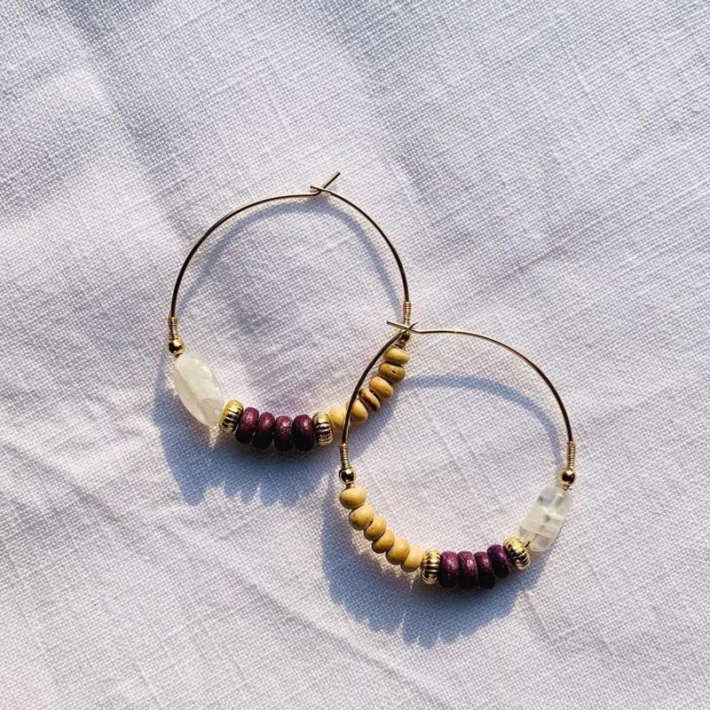moon stone × woodbeads pierce