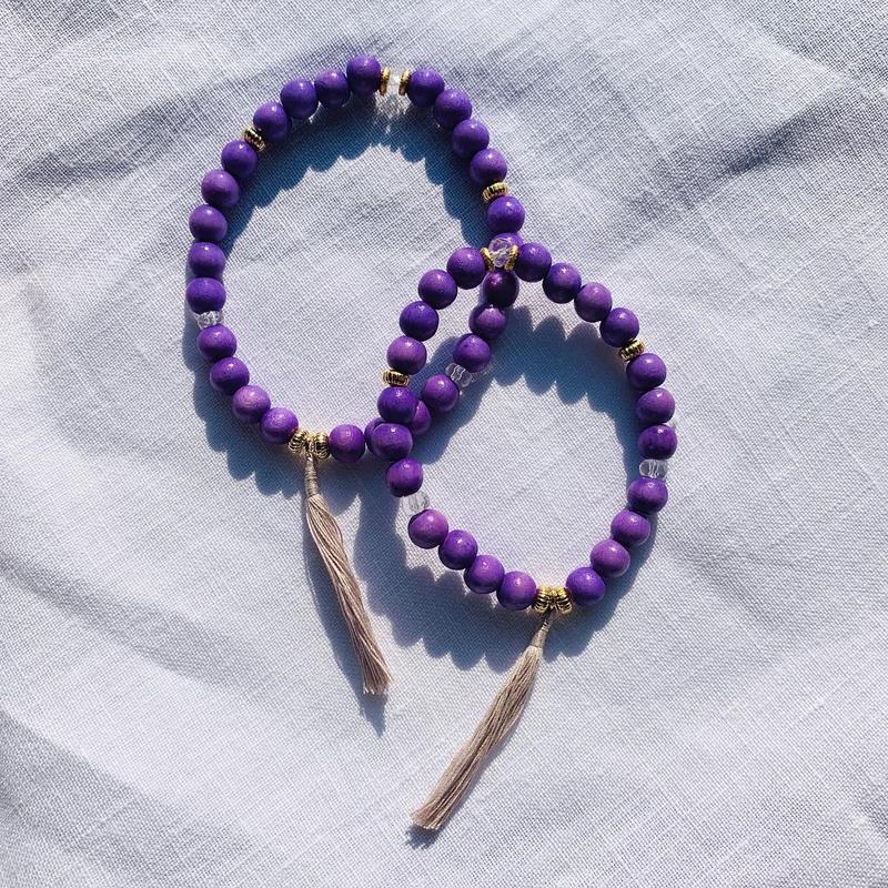 【for Mum and Girl】Purple woodbeads  pair bracelet