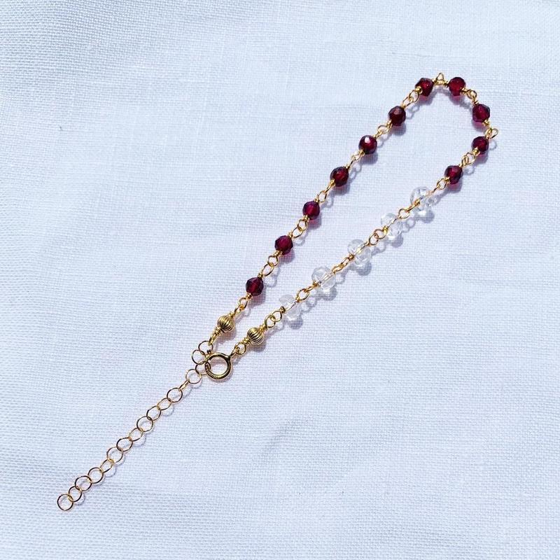 Garnet × Crystal bracelet