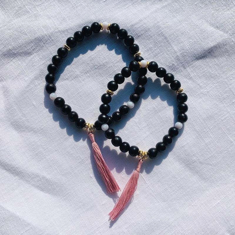 【for Mum and Girl】Black woodbeads  bracelet