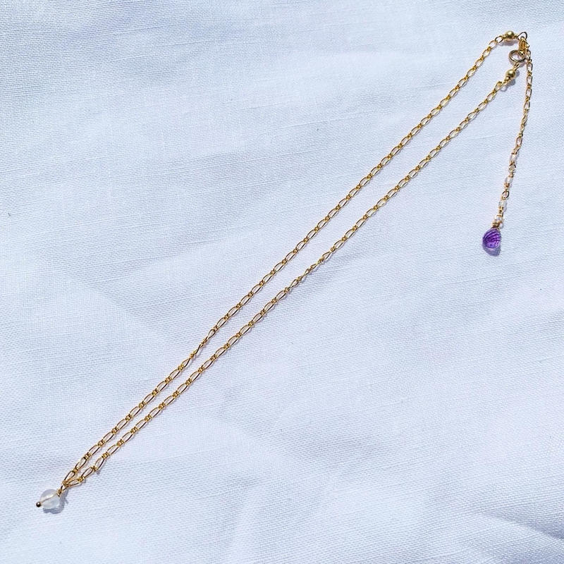 Crystal × Amethyst back chein  necklace