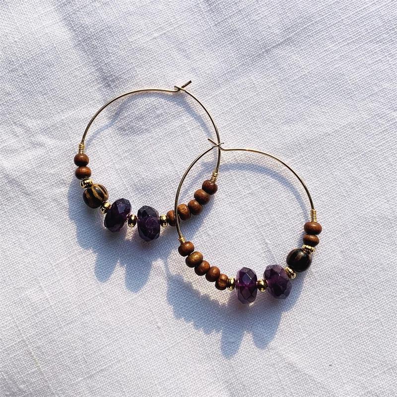 amethyst × woodbeads pierce