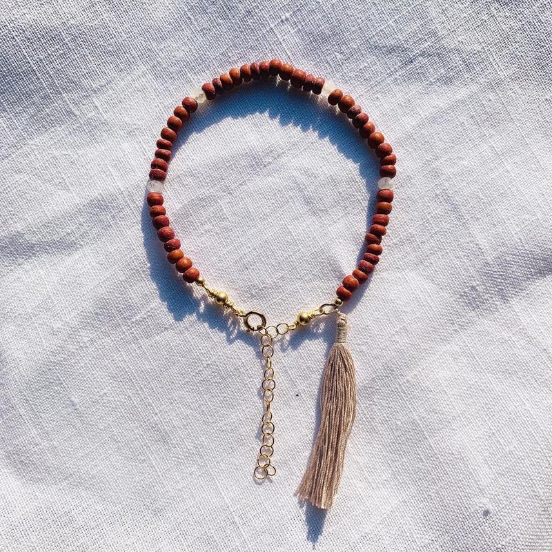 rainbow  woodbeads bracelet -- moon stone --