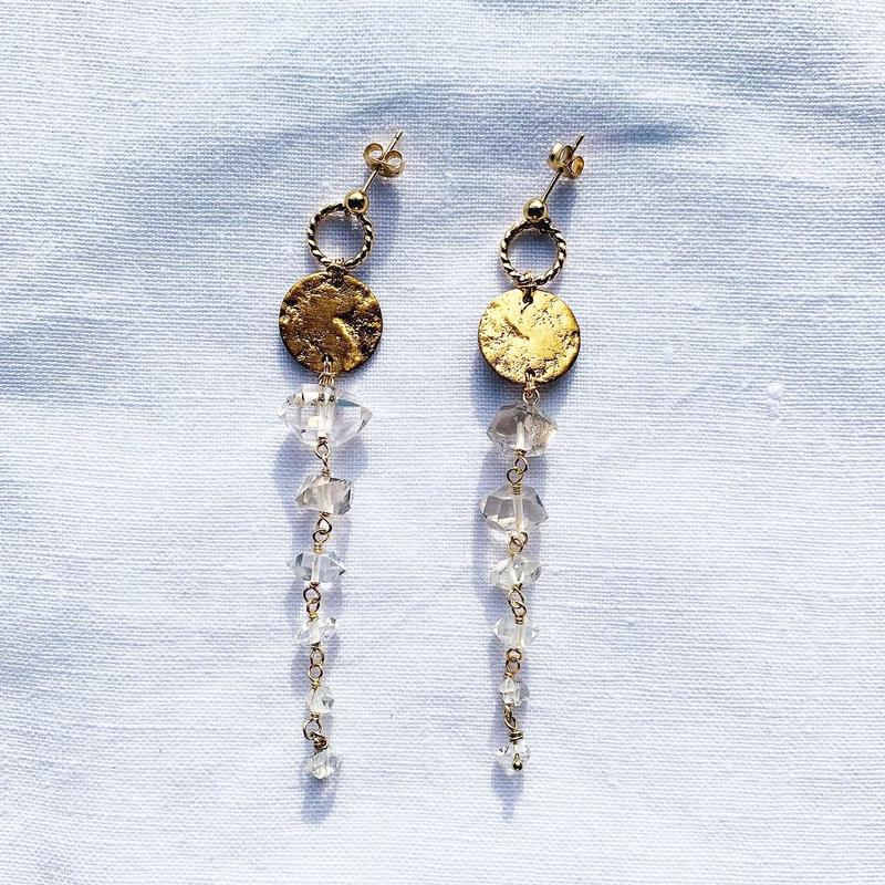 Herkimer-diamond  Moon earring