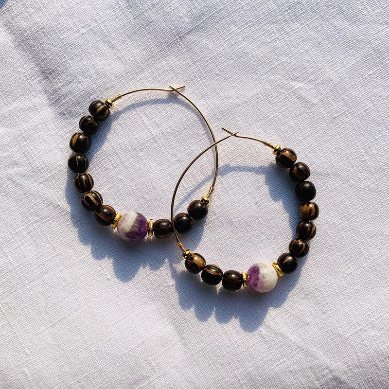 amethyst × coconut beads pierce