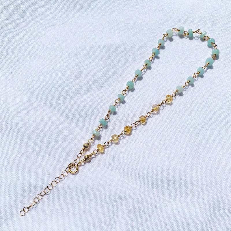 Citrin × Amazonite anklet