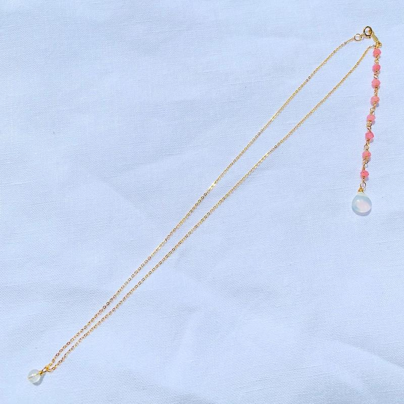 Pink Agate × Moonstone back chein  necklace
