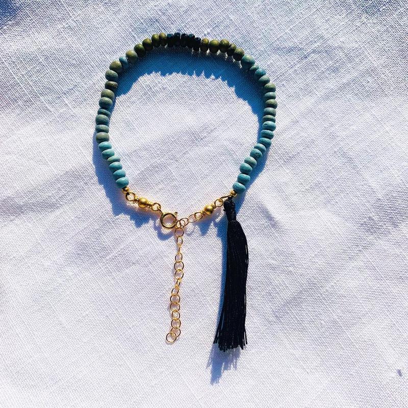 rainbow  woodbeads bracelet --  onyx --