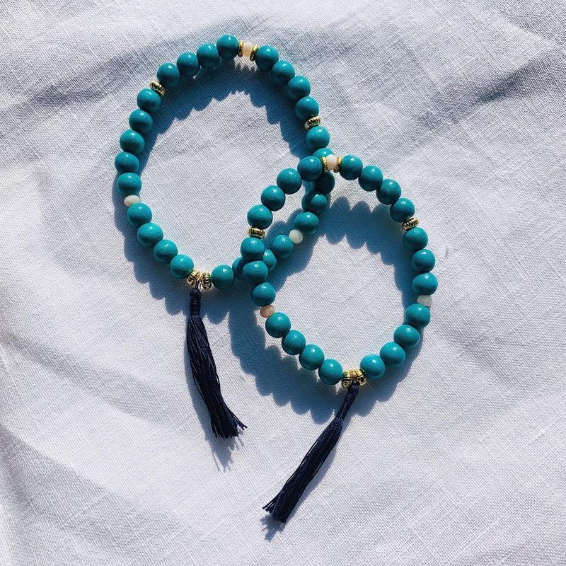 【for  Mum and Girl】Green woodbeads  pair bracelet