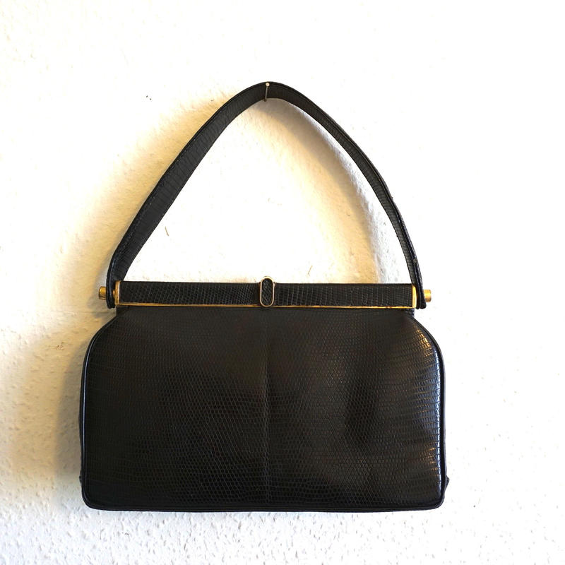 1950s Vintage Lizard Hnadbag Black