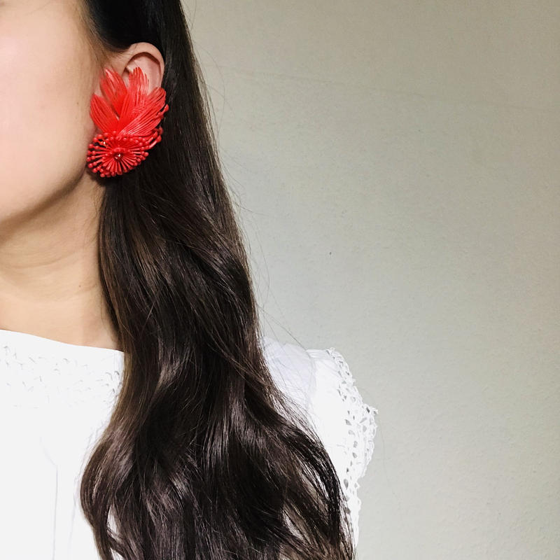 Vintage Clip-on Earrings  Red 《送料無料》(no.190)