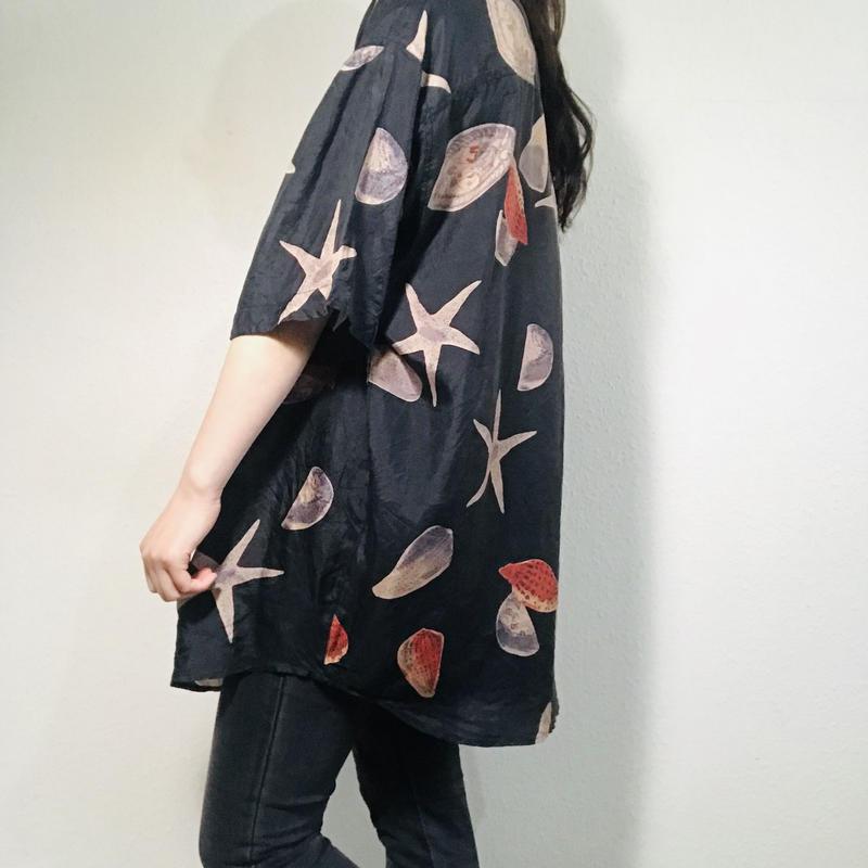 Shell pattern Silk shirt Black  (no.450)