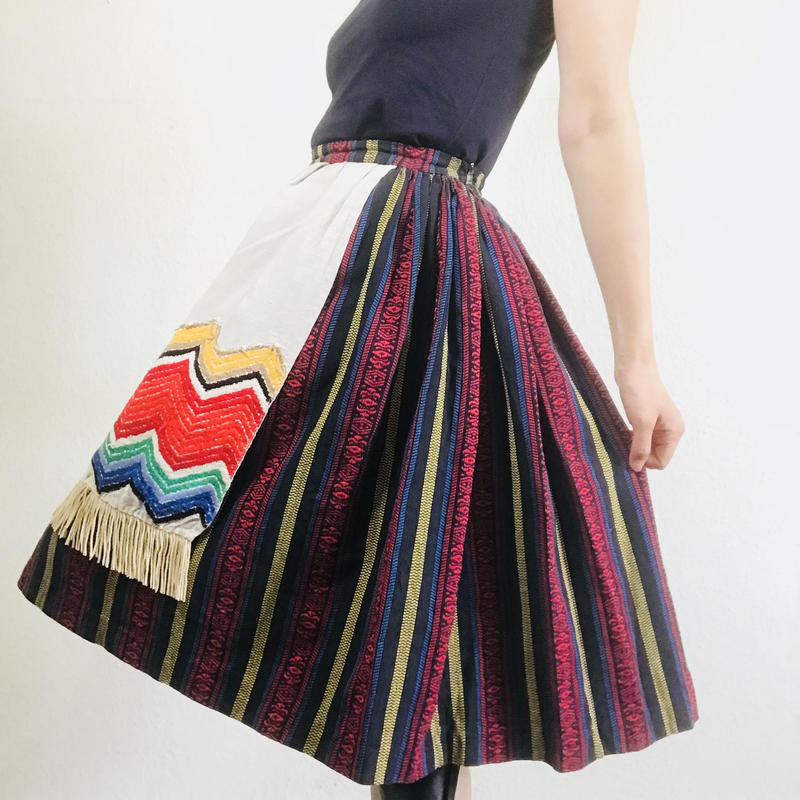 Vintage Embroidered Stripe Skirt