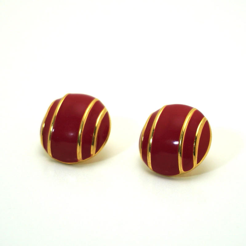 〈Costume jewelry〉60-80s  Pierced Earrings  Red/ Gold《送料無料》