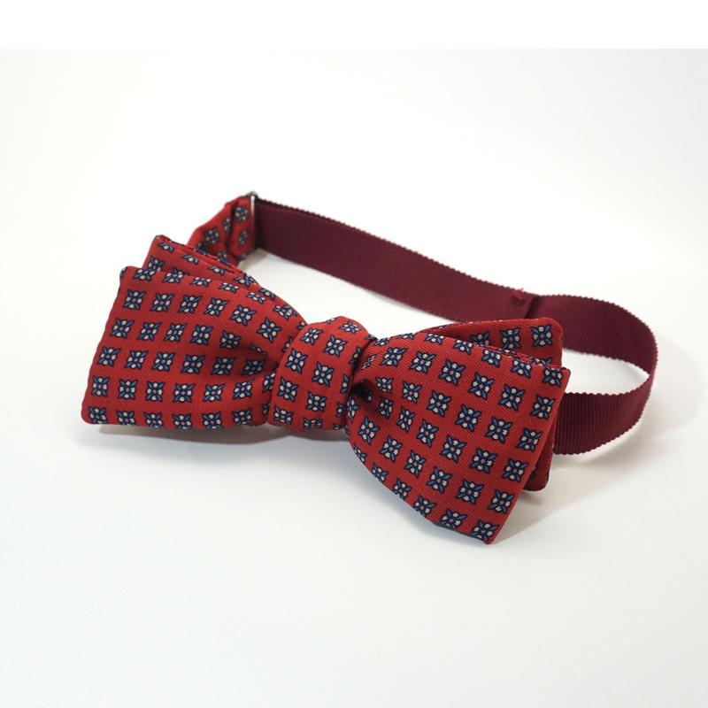 《送料無料》Vintage Flower Red Bow tie Silk   (no.308)