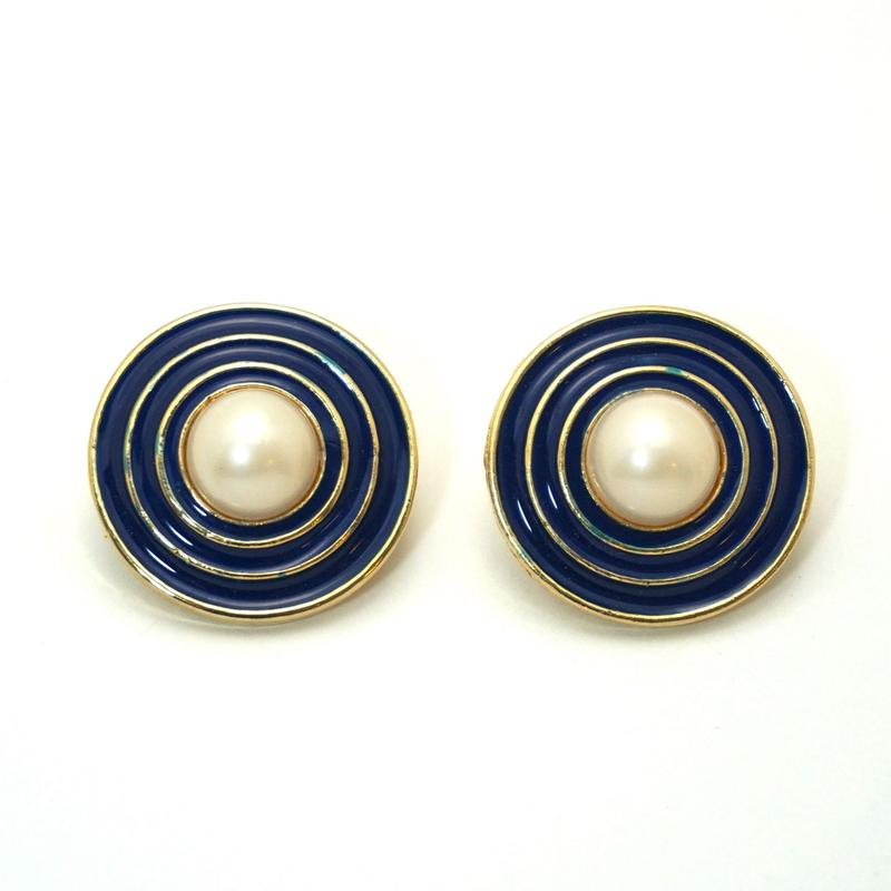 〈Costume jewelry〉60-80s  Clip-on Earrings  Blue《送料無料》