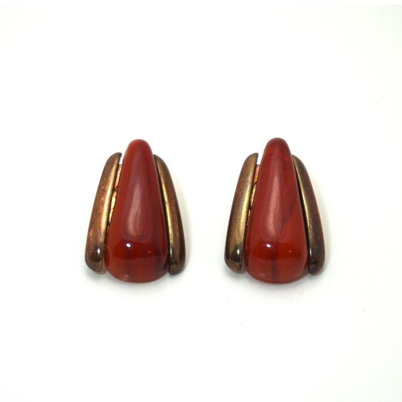 1920s Art Deco Clip-on Earrings  Red《送料無料》