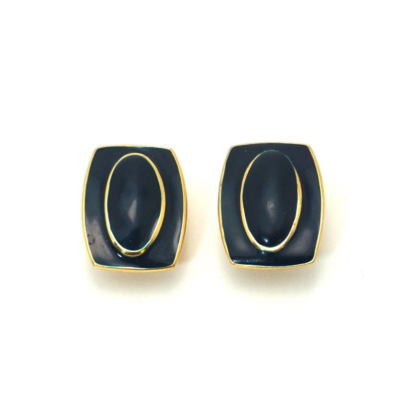 〈Costume jewelry〉60-80s  Clip-on Pierced Earrings  Navy《送料無料》