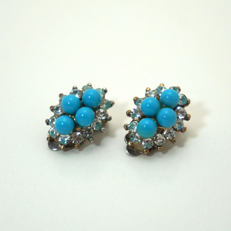 Vintgae Clip-on Earrings  Turquoise blue《送料無料》