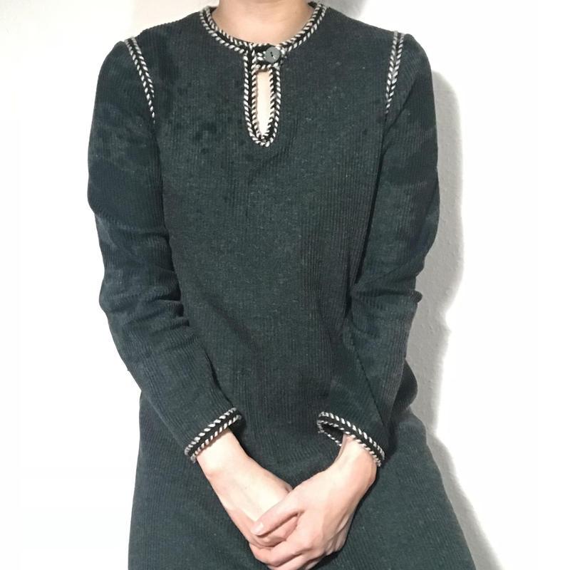 60s Aclyic wool Green Dress  (no.214)