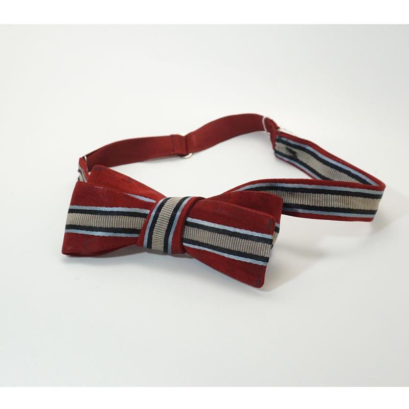 《送料無料》Vintage Red Stripe Bow tie   (no.286)