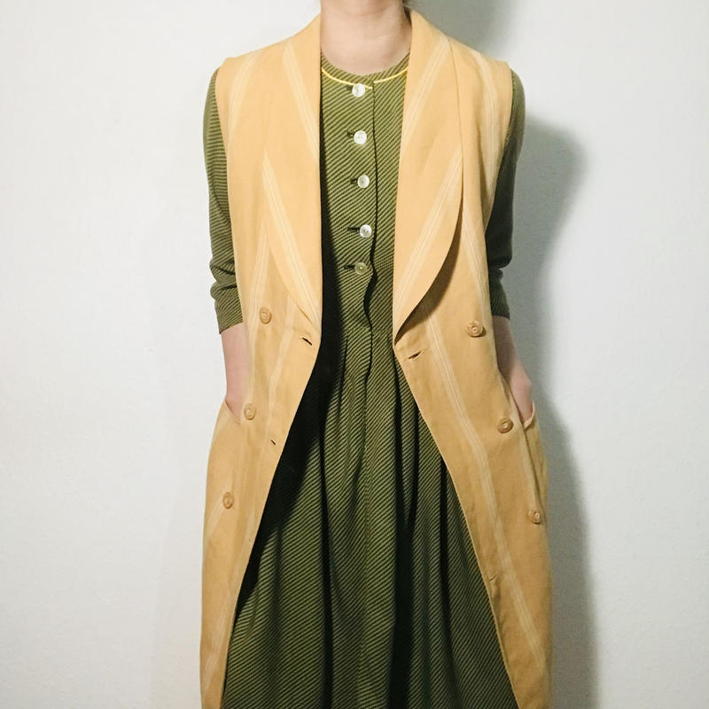 1990s Yellow Longline Dress / Robe
