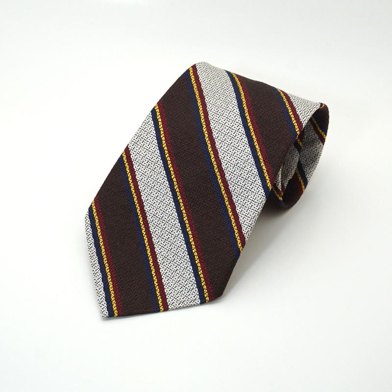 《送料無料》Repp Stripe Silk Tie Brown Silver   (no.290)