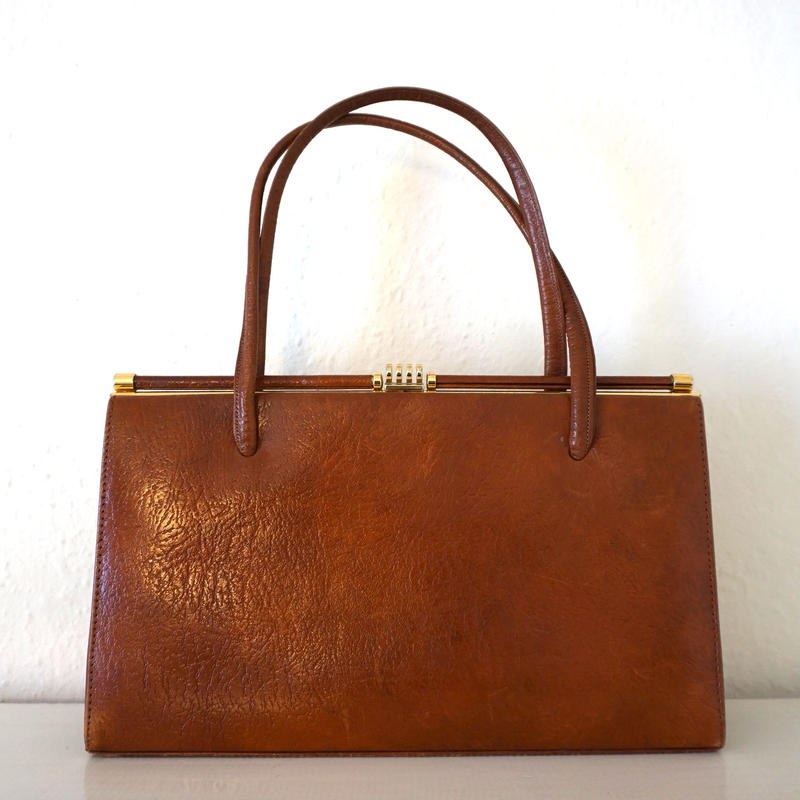 1950s Vintage Leather Hnadbag Brown