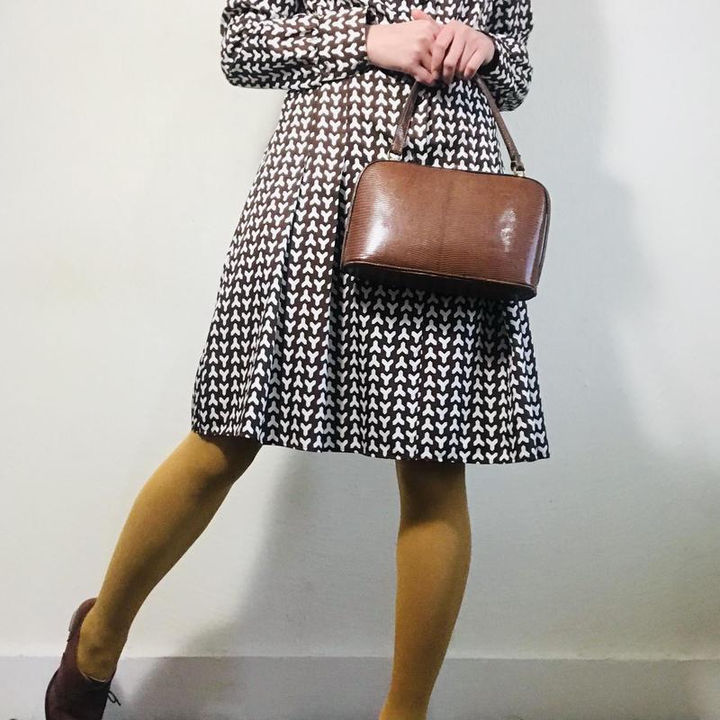 80s Dress Brown White Pattern  (no.367)