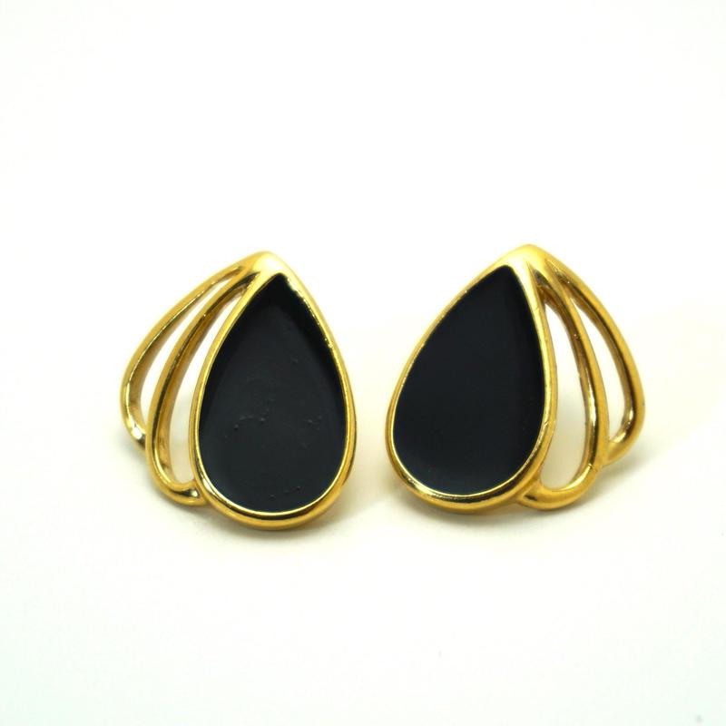 〈Costume jewelry〉60-80s  Pierced Earrings Black/ Gold《送料無料》