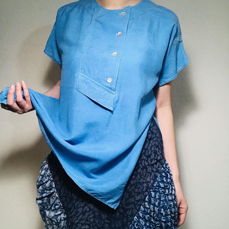 Pure silk Blouse Sky blue  (no.391)