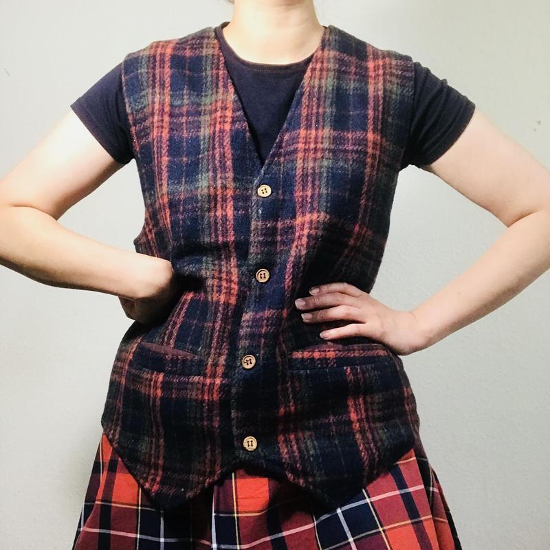 Vintage Wool Tartan Vest