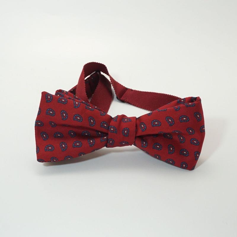 《送料無料》Vintage Paisley Red Bow tie Silk (no.313)