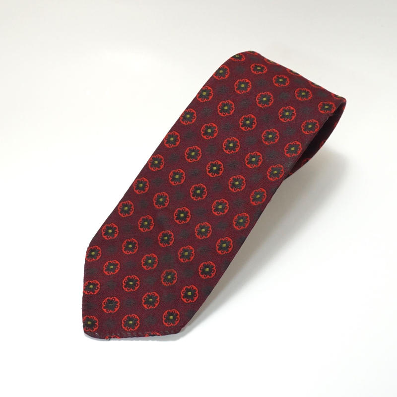 《送料無料》Vintage Harrods 60s Polyester Flower Red Tie (no.324)