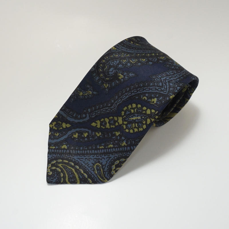 《送料無料》Vintage Gieves Silk Paisely Navy Tie (no.320)